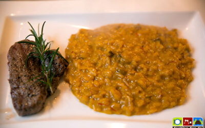 Safran-Steinpilz-Risotto mit Steak