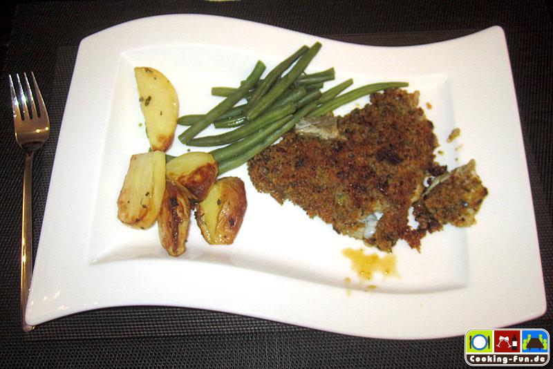 Fischfilet a la Bordelaise mit Rosmarinkartoffeln und grünen Bohnen