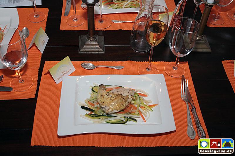 Maispoularde auf Champagnergemüse – Chicken with champagne